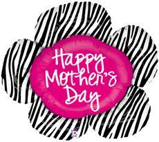 Mother's Day Zebra Flower - Foil Shape Balloon #betallic