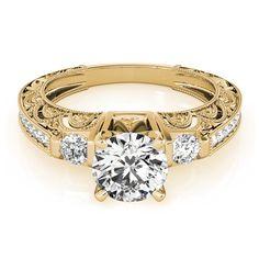 Transcendent Brilliance 14k Gold 1 1/3ct TDW White Diamond Antique Style Engagement Ring (F-G, VS1-VS2) (Yellow - Size 7.25), Women's, Rose