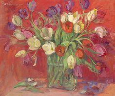 Tulpen op rode achtergrond