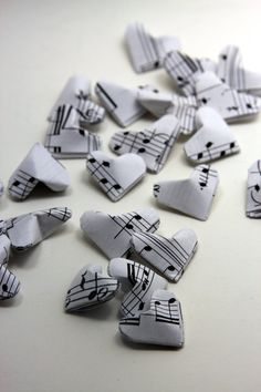 Music Notes Origami Hearts by meligami on Etsy, $6.50