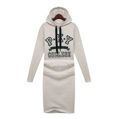 Casual Pattern Bodycon Hooded Letters Print Long sleeve Dress