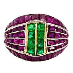 French Retro Ruby Emerald Ring. Circa 1945.