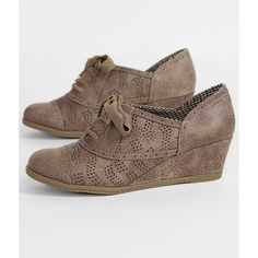 Not Rated Country Grammer Shoe ($45) ❤ liked on Polyvore featuring shoes, brown, synthetic shoes, wedge sole shoes, perforated shoes, wedge heel shoes and brown shoes