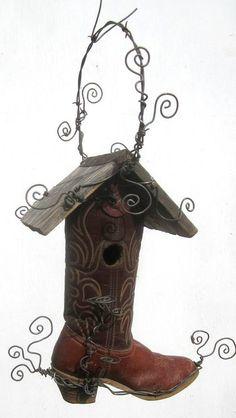 Montana Cowboy Boot Birdhouse