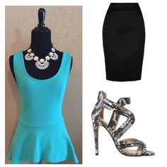 HPTeal Blue peplum top. Brand New! Cute top for spring and summer. Pair with almost anything, even a blazer for cooler seasons. Day to night! Tops
