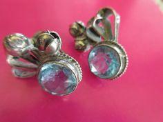 Vintage Sterling Aqua Paste Crystal Screw Back Earrings