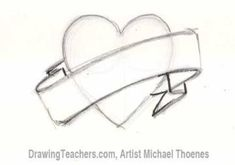 How to Draw a heart with banner Step 3