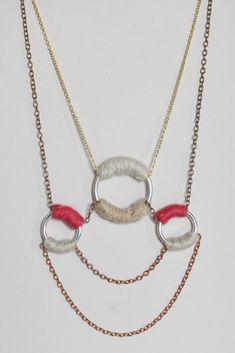 Boessert Schorn Symmetric Three Rings Felt Necklace