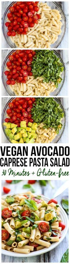 Creamy avocado replaces cheese in this VEGAN Caprese Pasta Salad! Easy to prepare in 30 minutes & full of fresh summer produce. A delicious lunch or dinner!