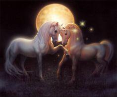 Unicorns in magical moon light