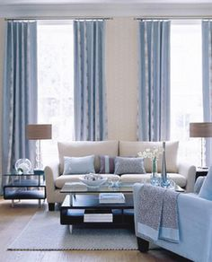 Taupe & Cool Blue Living Room