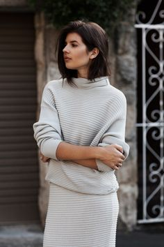 neutral ribbed knit look #style #fashion #badlands