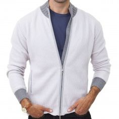 100% CASHMERE RIBBED FULL ZIP SWEATER