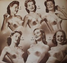 1940s Lingerie  Bra, Girdle, Slips, Underwear History. 1948 Bras for Average Figures.  #1940sfashion #lingerie #vintage