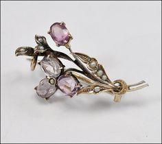 Victorian Sterling Silver Amethyst Seed Pearl Brooch