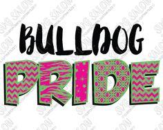 Bulldog Pride Patterned Chevron, Star, Zebra, and Quatrefoil Sports Team Fan Custom DIY Iron On Vinyl Cutting File in SVG, EPS, DXF, JPEG, and PNG Format