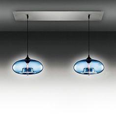 2 - Light Modern Glass Pendant Lights in Blue Bubble Design – AUD $ 358.73