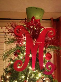 Wooden 18inch Letter for Christmas Tree- add some glitter.. I might have to do this! Christmas Projects, Christmas Gifts, Christmas Goodies, Winter Christmas, Merry Christmas, Christmas Holidays, Christmas Ideas, Holiday Ideas, Office Christmas