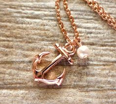 Rose Gold Anchor Charm Necklace, Nautical Pendant, w/ Swarovski White Pearl, Rose Gold Jewelry, Gift, Under 30, Ocean, Beach Jewelry by JBMDesigns on Etsy https://www.etsy.com/listing/210152357/rose-gold-anchor-charm-necklace-nautical
