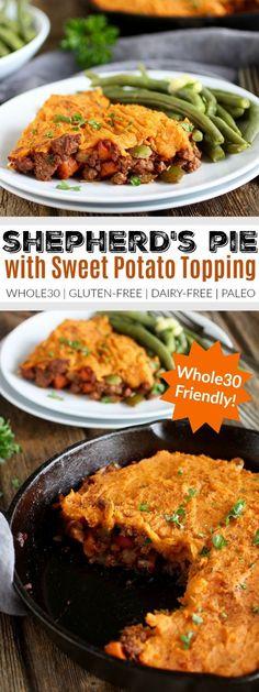 Shepherd's Pie with Sweet Potato Topping | whole30 recipe ideas | whole30 dinner recipes | whole30 comfort food | healthy shepherd's pie recipe | gluten-free shepherd's pie | dairy-free shepherd's pie | paleo shepherd's pie | gluten-free dinners | dairy-free dinners | paleo dinners || The Real Food Dietitians #whole30dinners