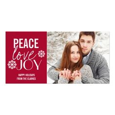 Peace Love Joy Red Snow Holiday Photo Cards by the Antique Chandelier http://www.zazzle.com/peace_love_joy_red_snow_holiday_photo_cards-243927622609720285?rf=238589399507967362
