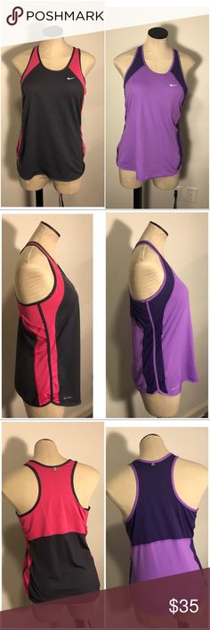 TWO Nike Dry Fit Razor Back Workout Tanks Large TWO Nike Dry Fit Razor Back Workout Tanks Large  Small nick on purple shirt see picture Nike Tops Tank Tops