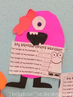 The Applicious Teacher: Monster Mash Measurement! Great bulletin board - I have the tpt unit Teaching Measurement, Measurement Activities, Math Activities, Nonstandard Measurement, Listening Activities, Math Games, Math Classroom, Kindergarten Math, Monster Classroom