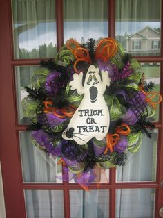 Trick or Treat Deco Mesh Halloween Wreath by CrazyboutDeco on Etsy, $89.00