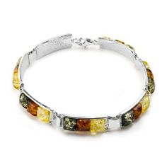 Sterling Silver Multicolor Amber Colored Squares Bracelet 7.5 Inches GRACIANA. $99.98. All amber jewelry designs are from Eastern Europe