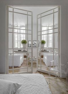 Glass interior doors create the illusion of space