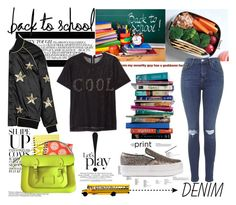 """""""Cool at School."""" by statisticam ❤ liked on Polyvore featuring Zoe Karssen, Jeffrey Campbell, The Cambridge Satchel Company, Topshop, 7 For All Mankind and MANGO"""