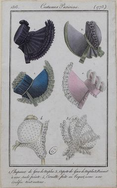 Bonnets, 1818 Costume Parisien Jane Austen, 1800s Fashion, Emo Fashion, Gothic Fashion, Vintage Fashion, Historical Costume, Historical Clothing, Gothic Corset, Victorian Gothic