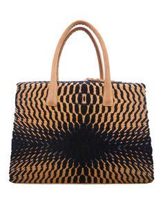 Hand Made Bag / Wool and Cotton Jacquard Fabric and Nubuck Leather / Design Teresa Georgallis