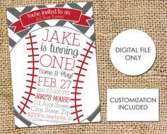 Baseball Birthday Invitation Childs Birthday by AestheticJourneys