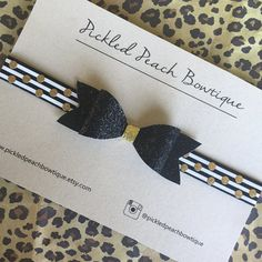 Black and Gold Glitter Bow on Black White by pickledpeachbowtique
