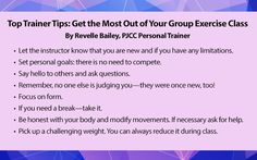 Get the most out of your group exercise class with these tips from one of PJCC's Personal Trainers!