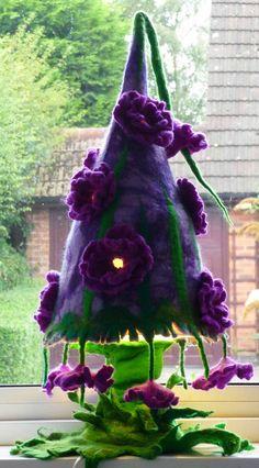 felted flower lamp bedside lamp night light by FeltedArtToWear