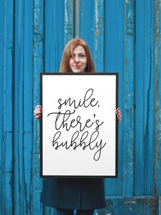 Smile, There's Bubbly Printable Wall Art | Instant Download | Black & White Print | Kitchen Decor | Chic Kitchen Art | Champagne | Champs