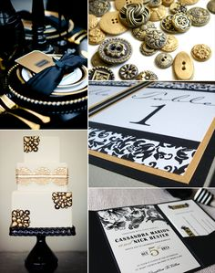 black and gold wedding inspiration (styled shoot photo by aruna b, edible candy buttons by andie's specialty sweets, cake by my sweet and saucy, table numbers by invites by jen, invitation by ginger p designs)