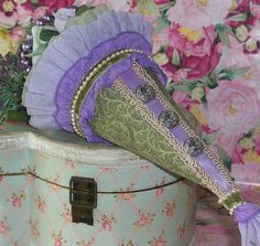 Victorian Tussy Mussy (sage green/purple/lilac/lavender) Tussie Mussie #1 by MYbeeboANDbijou, via Flickr