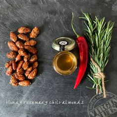 Flavourful Honey rosemary chili almonds  Almonds are one of the most popular nuts and famous for their versatility and health benefits. When this source of vitamins is produced with our #100%natural honey, herbs and spices, it makes almonds even more popular! Like our Honey rosemary chili almonds, which is just one out of many examples of #absolutelydelicious #almond snacks. Picture a combination of hearty brown almonds, sweet and full honey, fragrant rosemary and spicy chili… Enjoy!