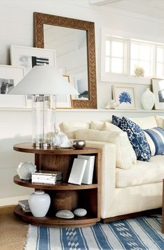 Ralph Lauren Driftwood Sofa and nautical decor - retreat by the ocean