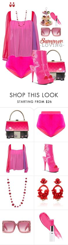 """""""Party Pants!"""" by flippintickledinc ❤ liked on Polyvore featuring Moschino, Versace, Pleaser, Sidney Garber, Ranjana Khan and Gucci"""