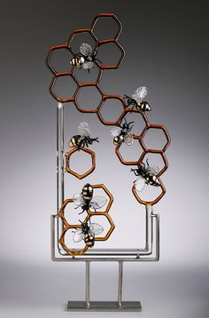Glass Bee honeycomb sculpture. Essence by 2BirdsGallery on Etsy, $2100.00