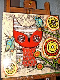 Folk art Owl mixed media painting