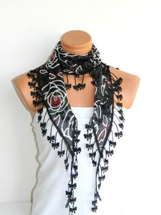 Red Black flower Scarf Turkish Chiffon Fabric by WomanStyleStore, $14.00