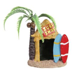 Top Fin® Tiki Surf Shop Aquarium Ornament - Decorations - Fish - PetSmart; look for old aquarium stuff to put on tables (clean well), in the bathrooms, and maybe put the little faux tea lights in them (Dollar Tree).