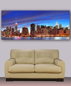 Canvas-print-New-York-Manhattan-Skyline-19-x50-Night-photography-wall-decor
