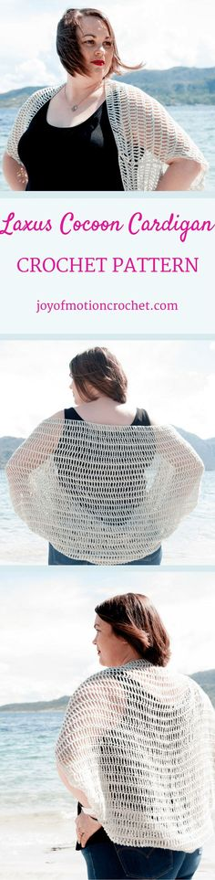 The Laxus Cocoon Cardigan Crochet pattern. Beginner crochet pattern. Woman's cocoon cardigan. Cocoon sweater. Crochet cocoon cardigan. Crochet Cocoon Sweater. Crochet cocoon blanket sweater.  Crochet cocoon shrug.  Crochet cocoon pattern. via @http://pint