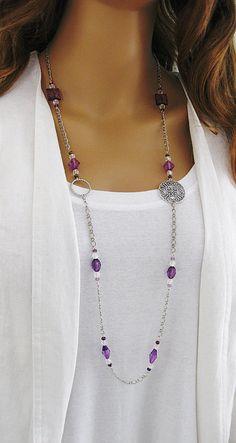 Púrpura largo collar de perlas collar de por RalstonOriginals